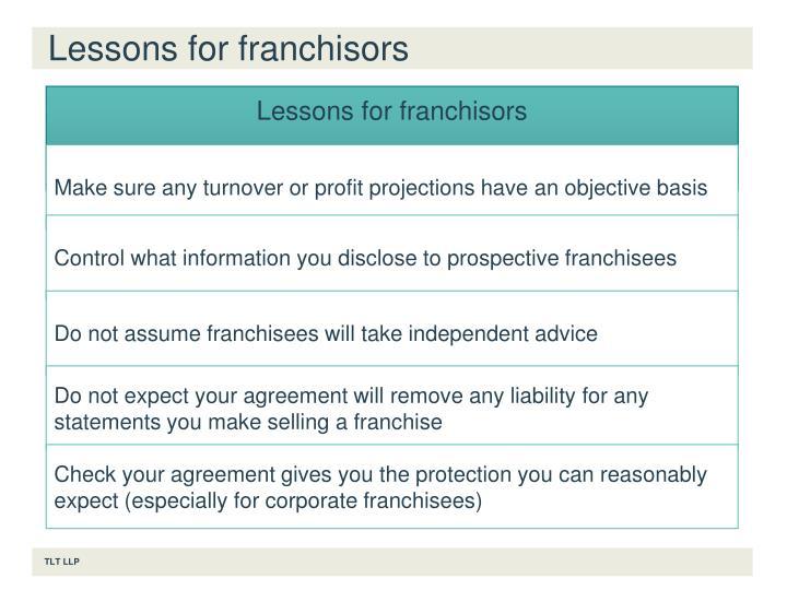 Lessons for franchisors