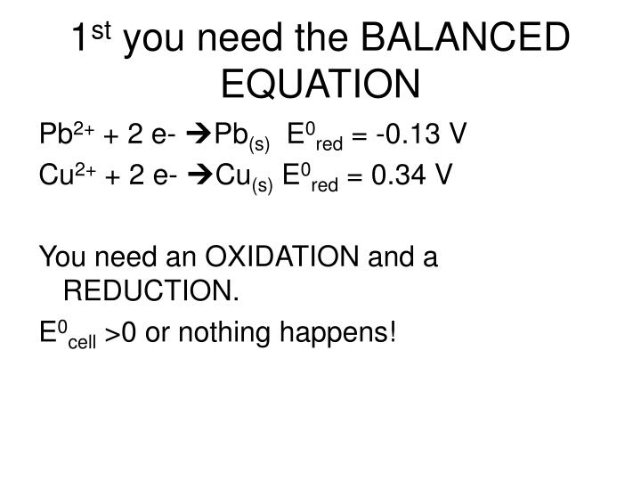 1 st you need the balanced equation n.