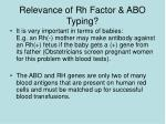 relevance of rh factor abo typing
