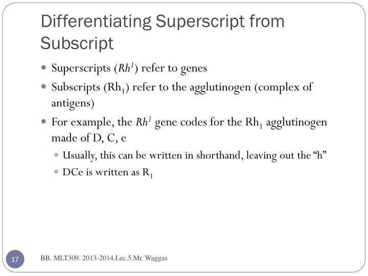 Differentiating Superscript from Subscript