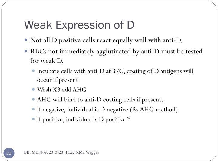 Weak Expression of D