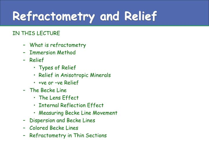 refractometry and relief n.