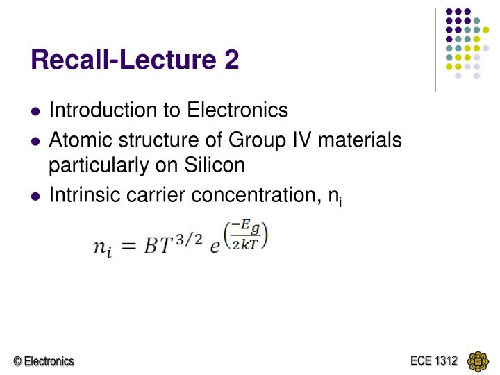 Recall lecture 2