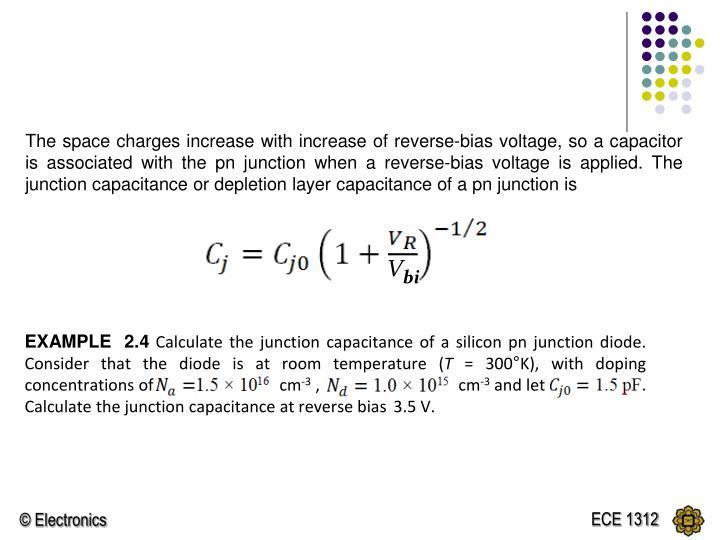 The space charges increase with increase of reverse-bias voltage, so a capacitor is associated with the