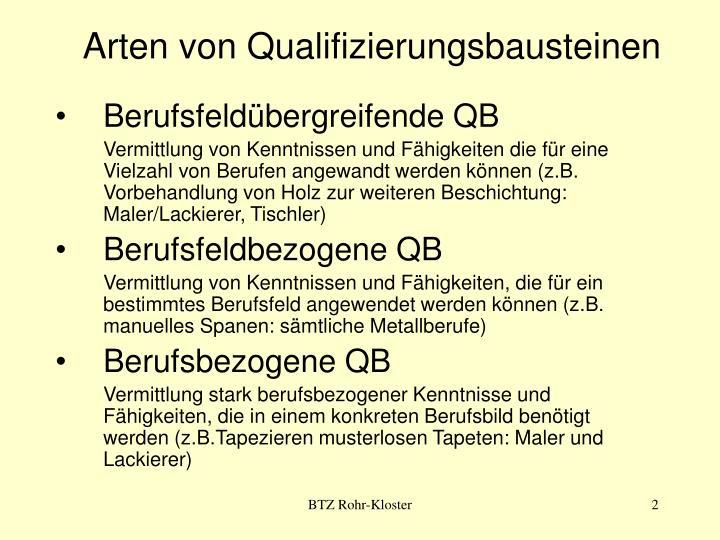 Arten von qualifizierungsbausteinen
