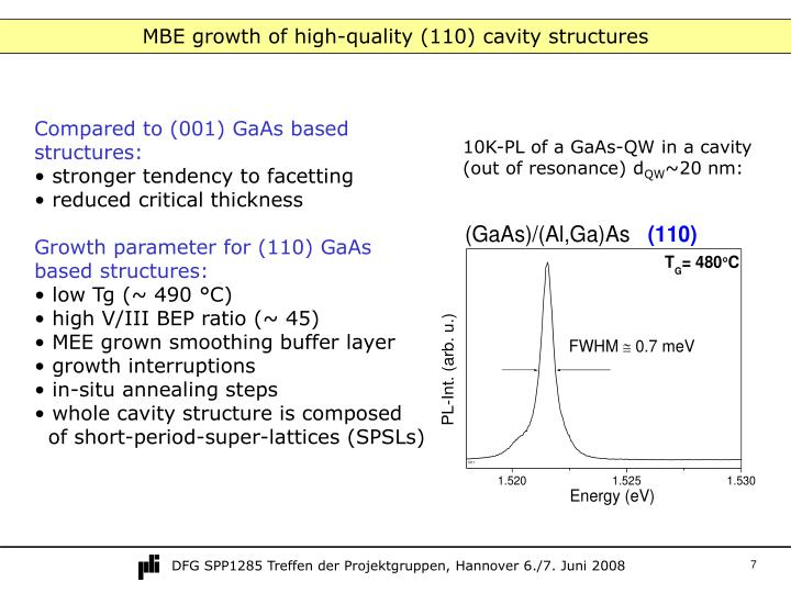 MBE growth of high-quality (110) cavity structures