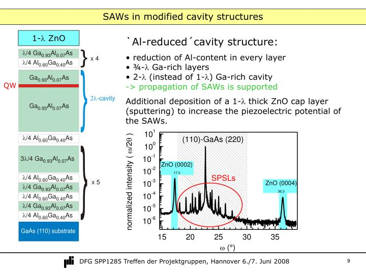 SAWs in modified cavity structures