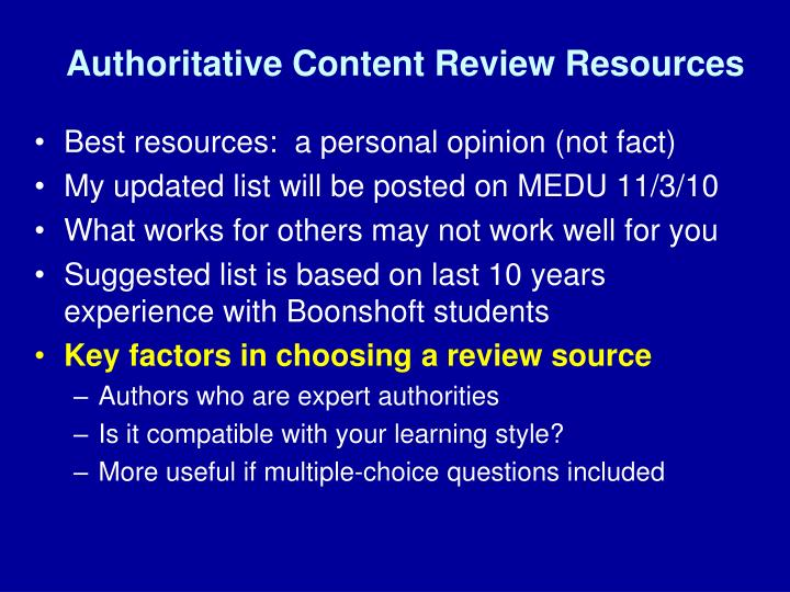 Authoritative Content Review Resources