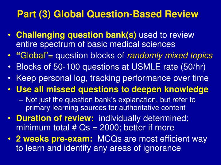 Part (3) Global Question-Based Review