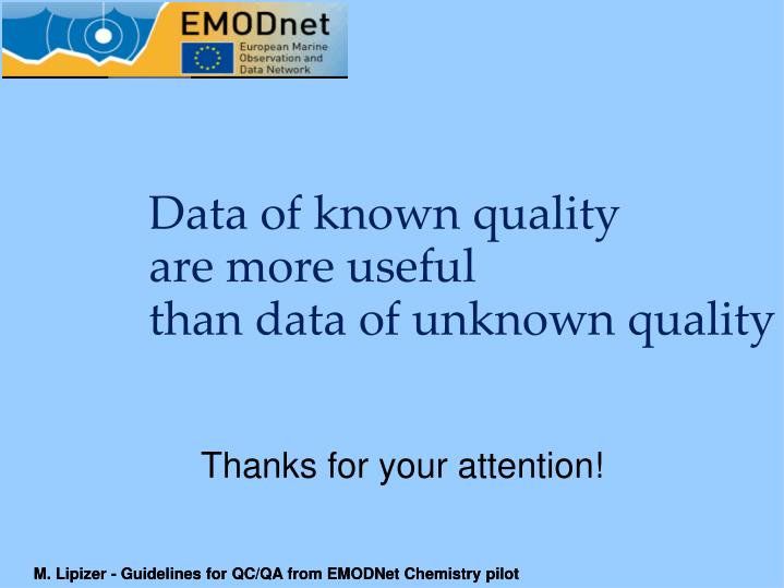 Data of known quality