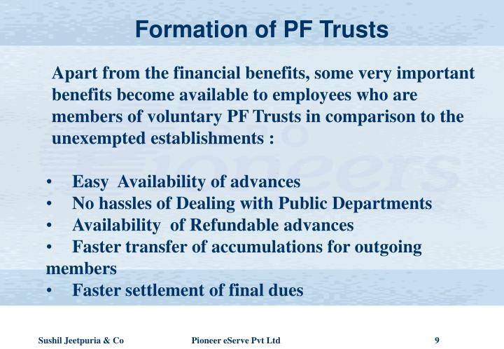 Formation of PF Trusts