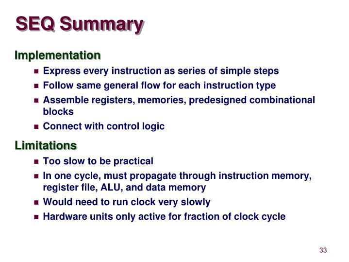 SEQ Summary