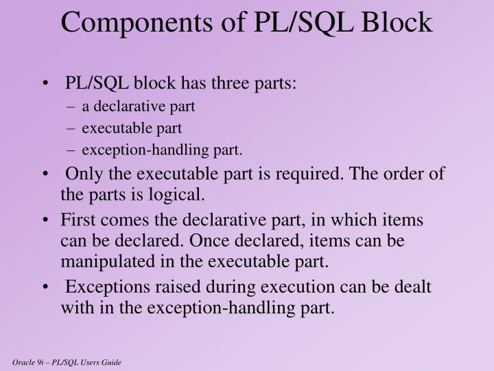 PL/SQL block has three parts: