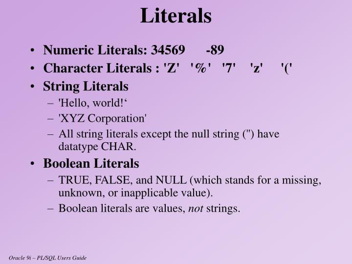 Numeric Literals: 34569-89
