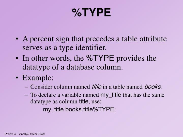 A percent sign that precedes a table attribute serves as a type identifier.