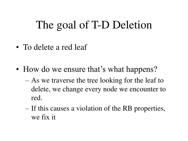 The goal of T-D Deletion