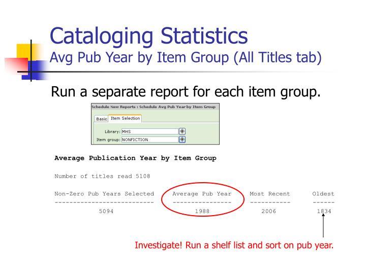 Cataloging Statistics
