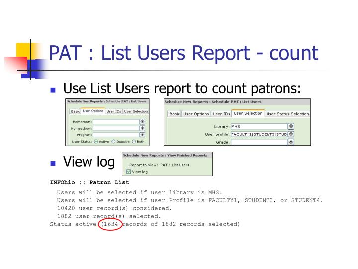 PAT : List Users Report - count
