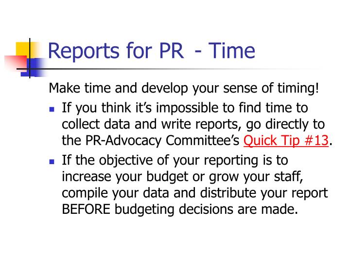 Reports for PR - Time