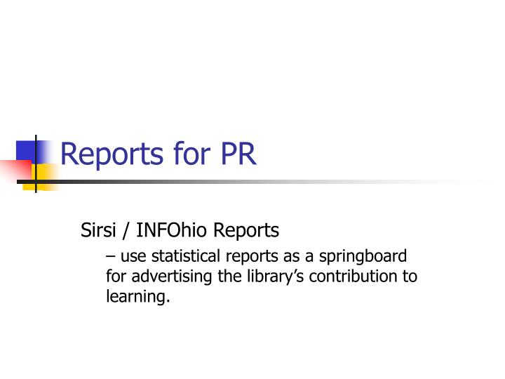 Reports for PR