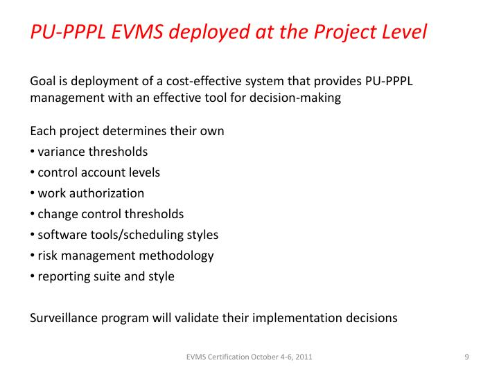 PU-PPPL EVMS deployed at the Project Level