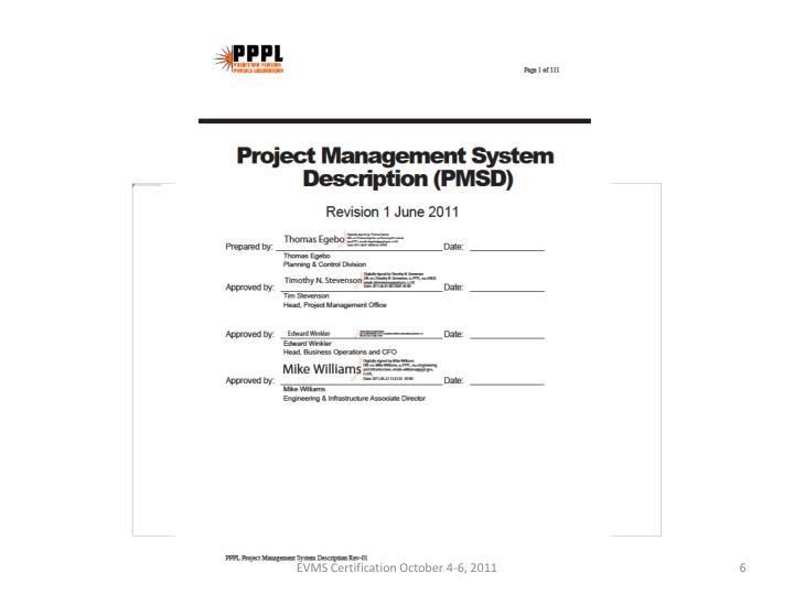 EVMS Certification October 4-6, 2011