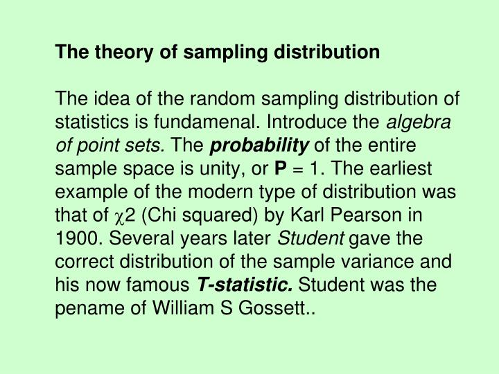 The theory of sampling distribution