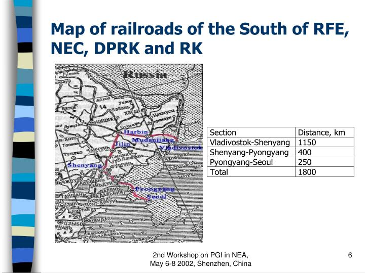 Map of railroads of the South of RFE, NEC, DPRK and RK