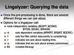 lingalyzer querying the data