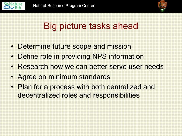 Big picture tasks ahead