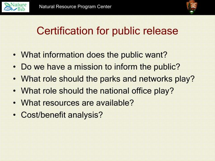Certification for public release