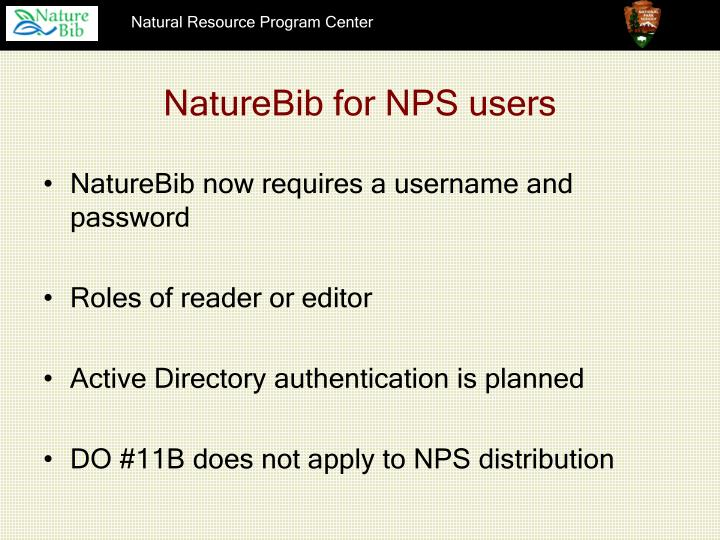 NatureBib for NPS users