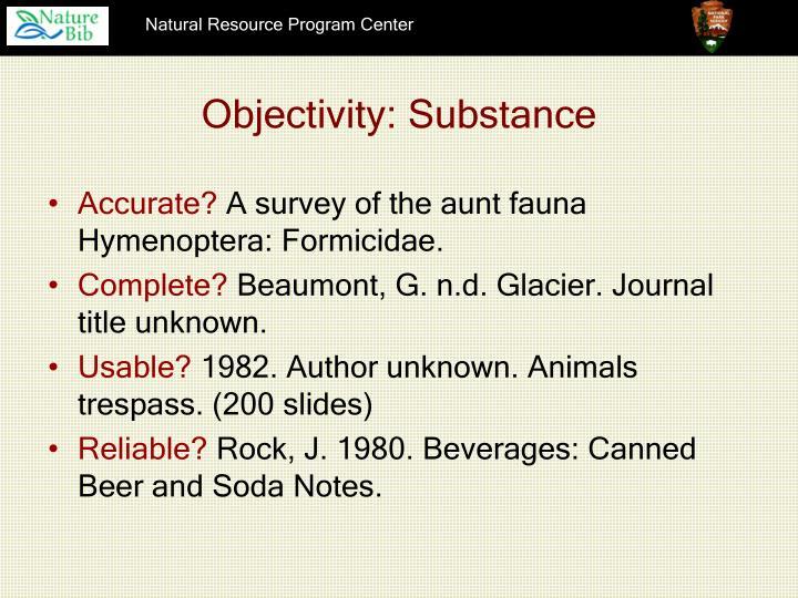 Objectivity: Substance