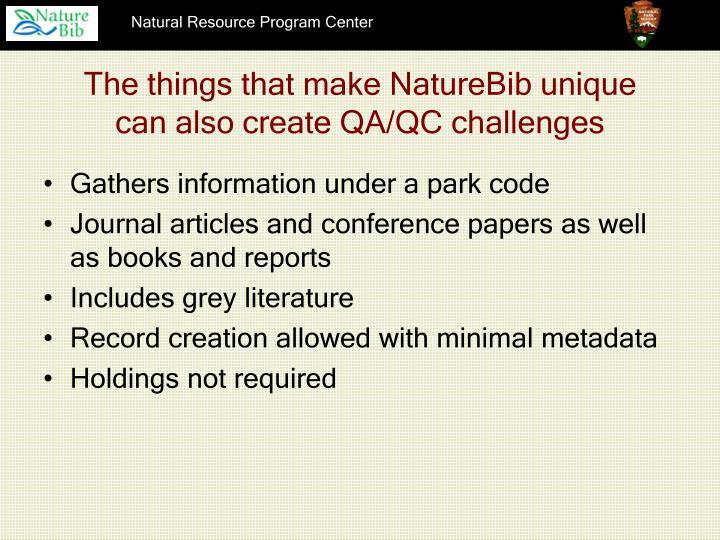 The things that make NatureBib unique