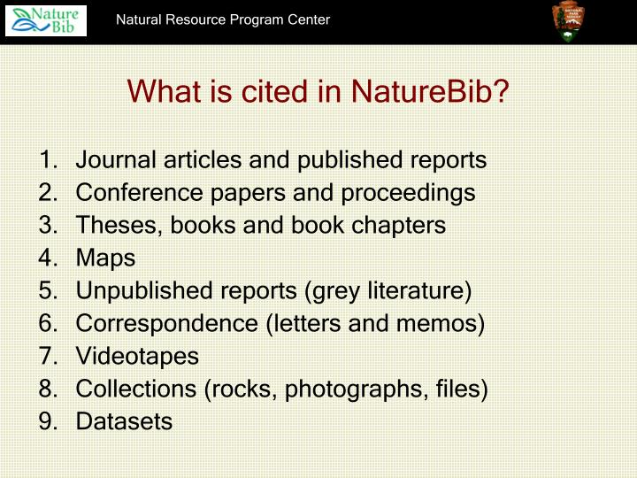 What is cited in NatureBib?