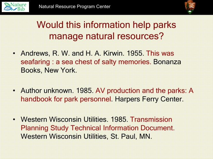 Would this information help parks