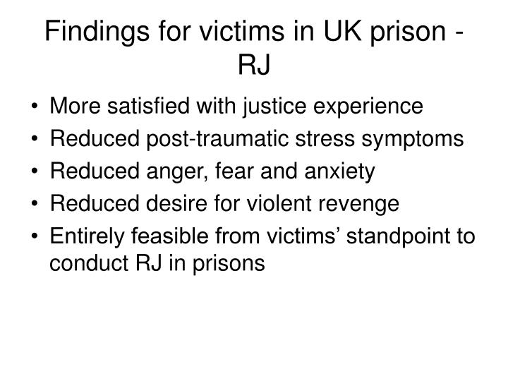 Findings for victims in UK prison - RJ