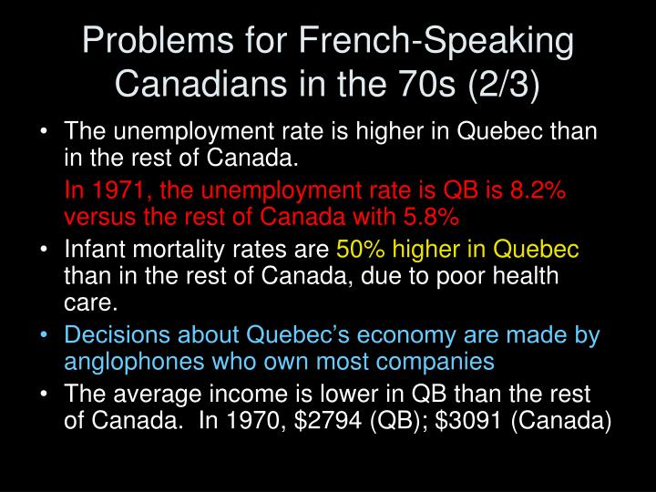 Problems for French-Speaking Canadians in the 70s (2/3)
