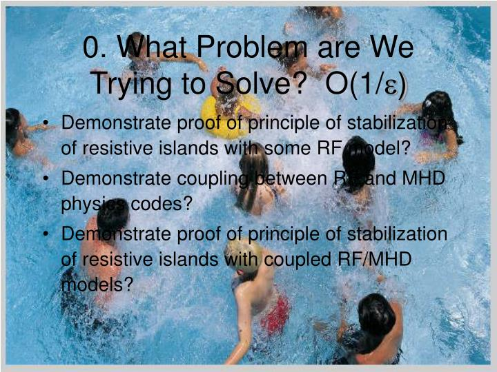 0 what problem are we trying to solve o 1