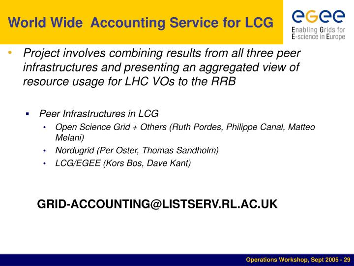 World Wide  Accounting Service for LCG