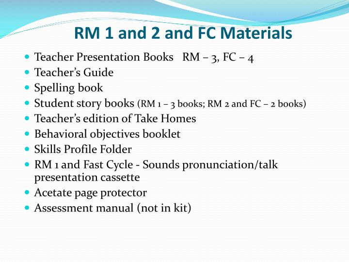RM 1 and 2 and FC Materials