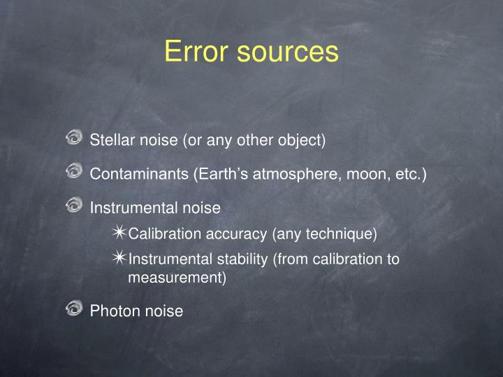 Error sources
