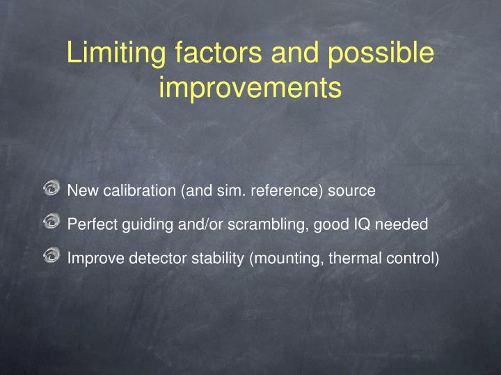 Limiting factors and possible improvements