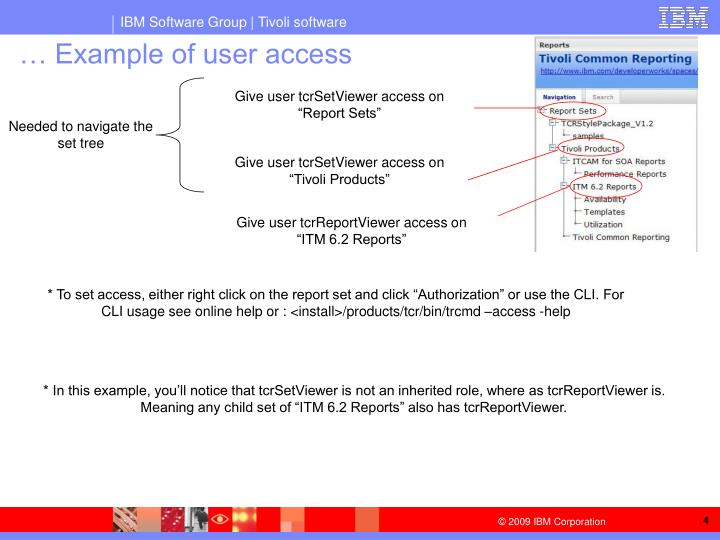 … Example of user access