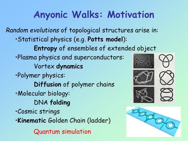 Anyonic Walks: Motivation