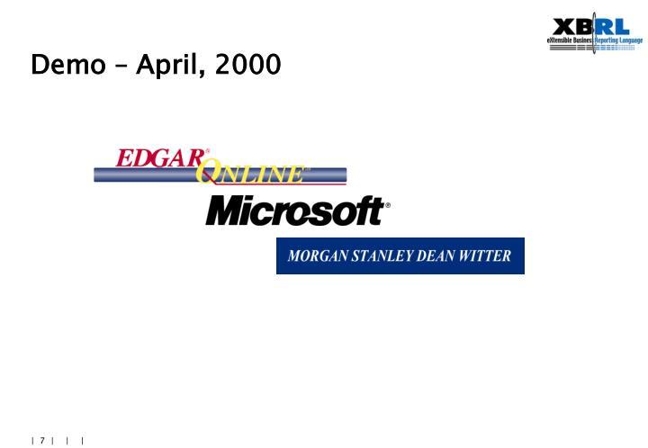 Demo – April, 2000