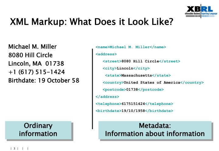 Xml markup what does it look like