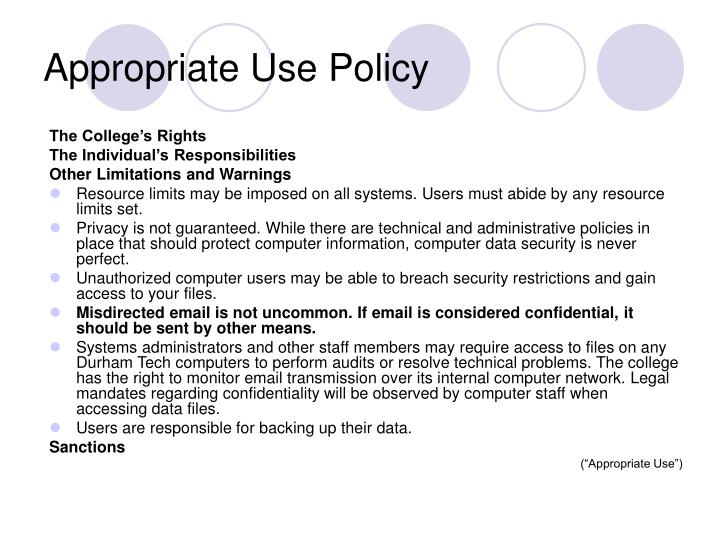 Appropriate Use Policy