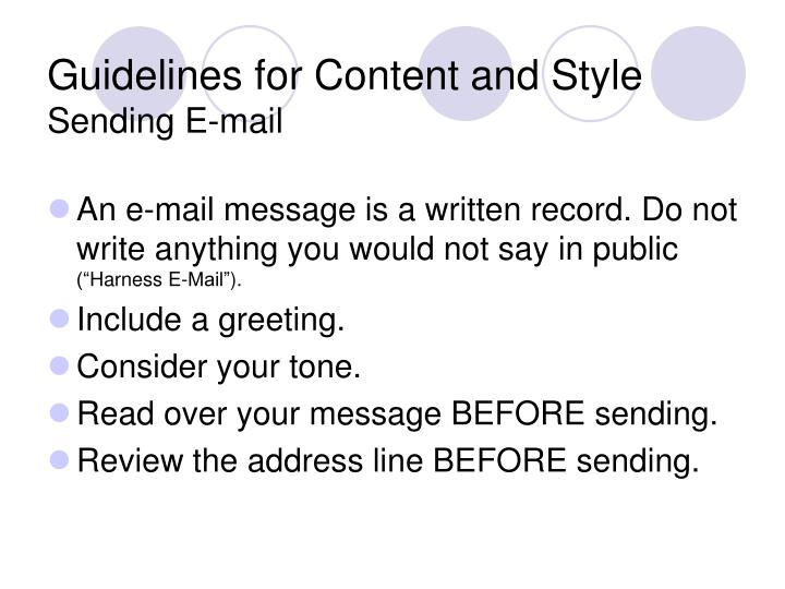 Guidelines for Content and Style