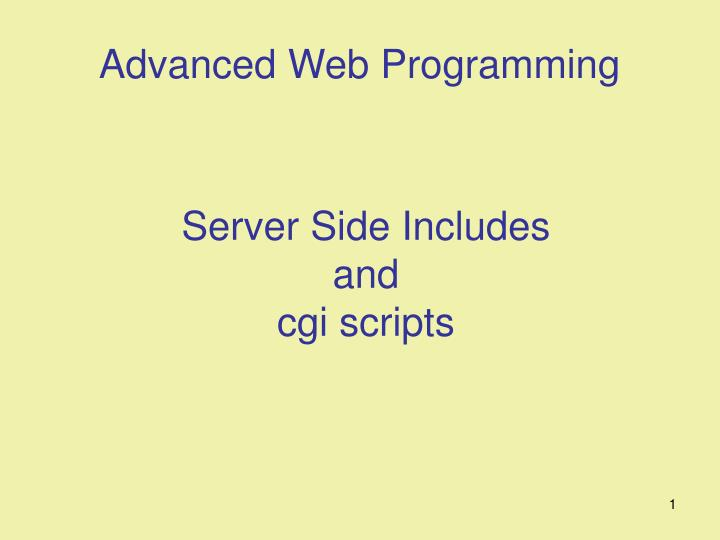 Server side includes and cgi scripts